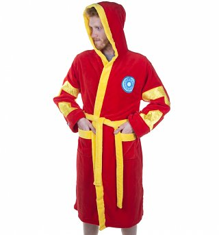 Men's Red Marvel Comics Iron Man Hooded Dressing Gown