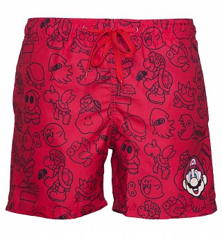 Men's Red Nintendo Mario Brothers Swim Shorts