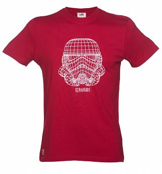 Men's Red Star Wars Stormtrooper Wire Frame T-Shirt from Chunk