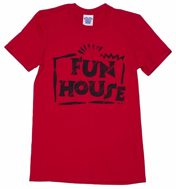 Men's Red Team Fun House Logo T-Shirt