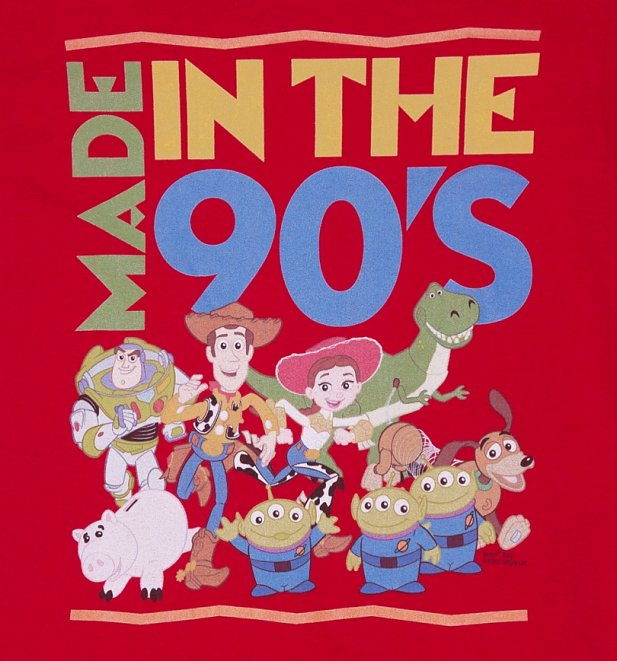 Men's Red Toy Story Made In The 90s T-Shirt