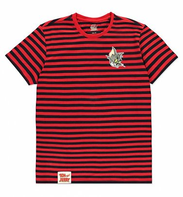 Men's Red and Black Stripe Tom and Jerry Tom Mini Me T-Shirt from Difuzed