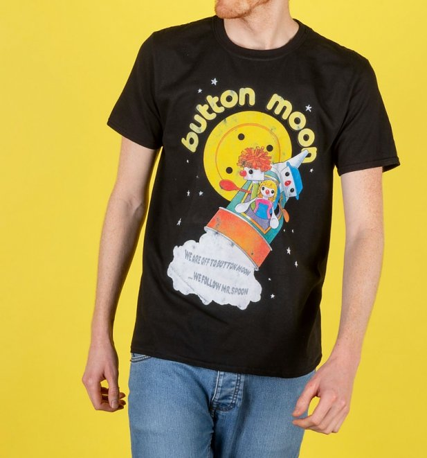 Men's Retro Button Moon Black T-Shirt