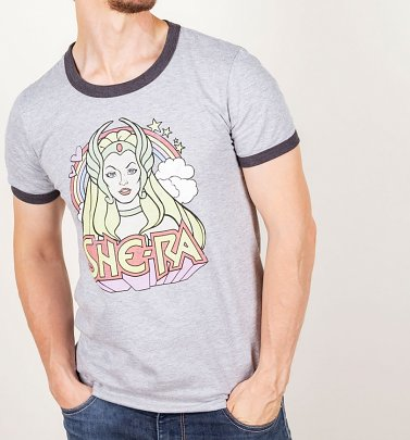 Men's Retro She-Ra Rainbow Heather Grey And Charcoal Ringer T-Shirt