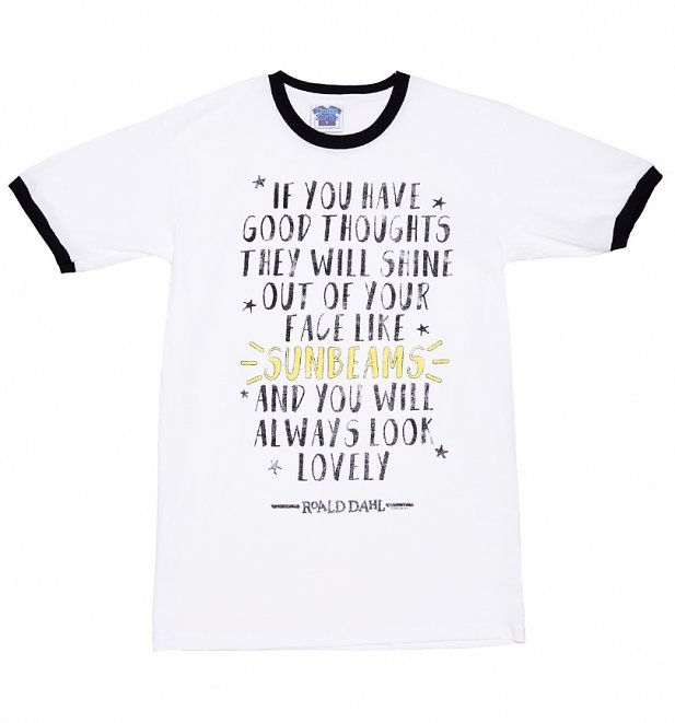 Men's Roald Dahl Good Thoughts Quote Ringer T-Shirt