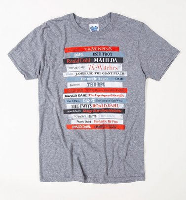 Men's Roald Dahl Vintage Book Spines Graphite Heather T-Shirt