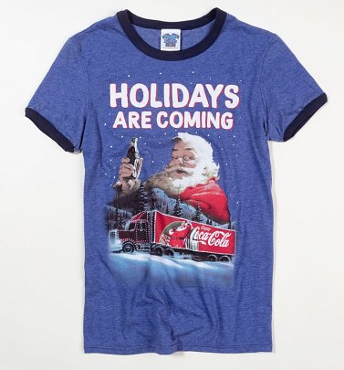 Men's Santa Holidays Are Coming Coca-Cola Ringer T-Shirt