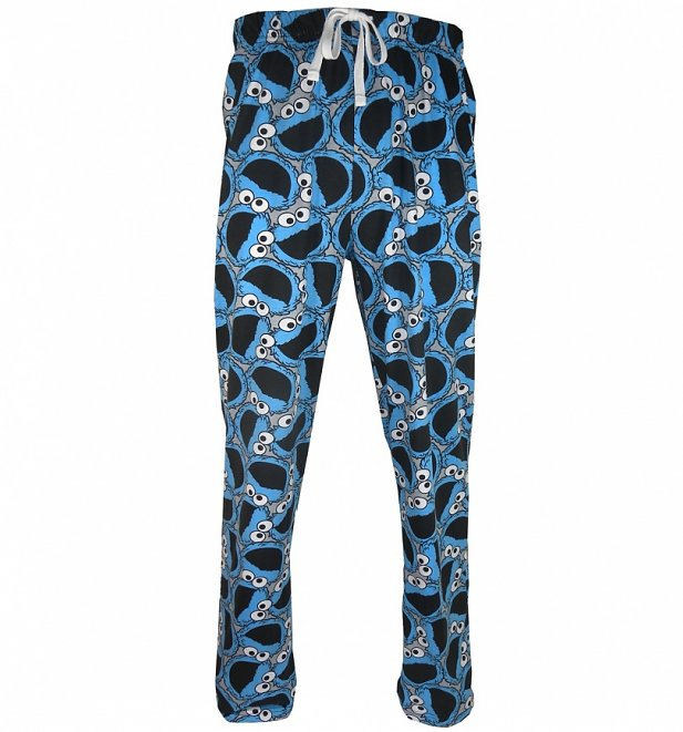 Men's Sesame Street Cookie Monster Faces Lounge Pants