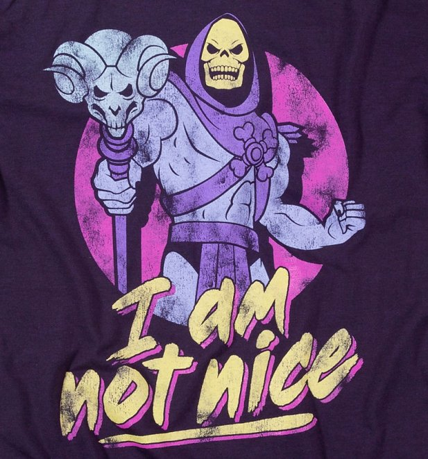 Men's Skeletor I Am Not Nice Blackberry T-Shirt