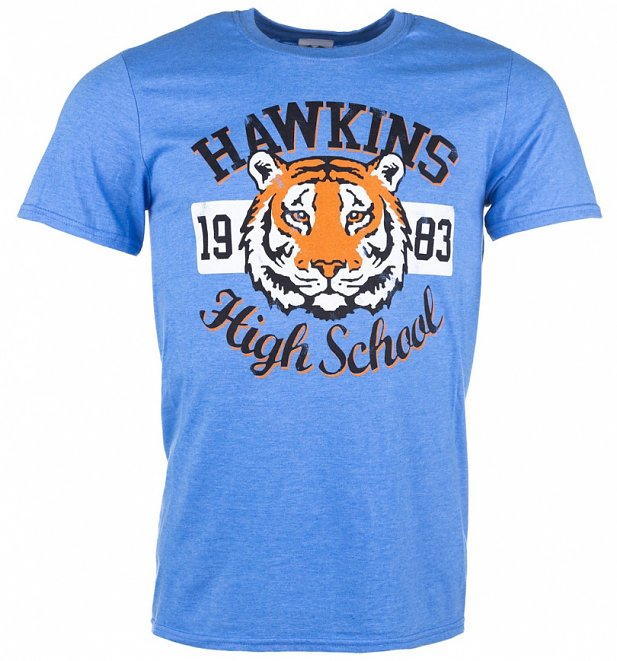 Men's Stranger Things Inspired Hawkins High School Heather Royal T-Shirt