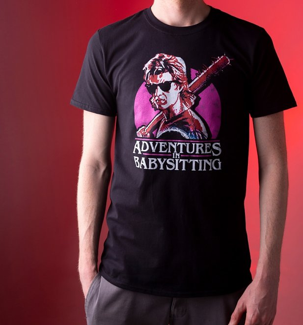 Men's Stranger Things Inspired Steve Adventures In Babysitting Black T-Shirt