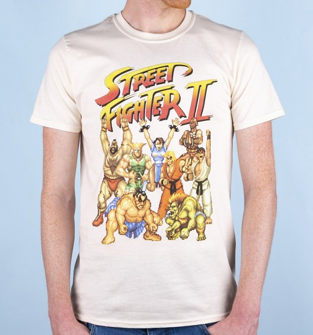Men's Street Fighter II Pixel Gang Ecru T-Shirt