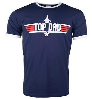 Men's Top Dad Blue And White Ringer T-Shirt