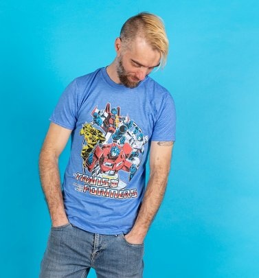 Men's Transformers Group Shot Blue T-Shirt