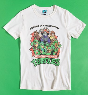 Men's Teenage Mutant Ninja Turtles Heroes In A Half Shell Ecru T-Shirt