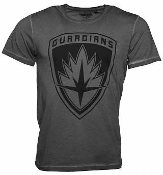 Men's Vintage Washed Charcoal Guardians Of The Galaxy Logo T-Shirt