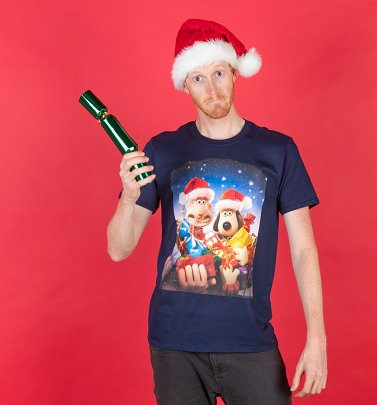 Men's Wallace And Gromit Christmas Presents Navy T-Shirt