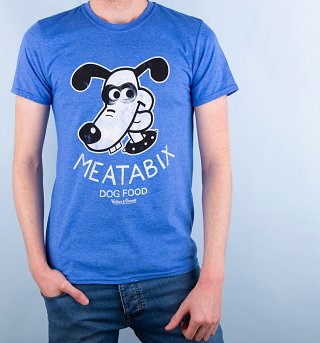 Men's Wallace And Gromit Meatabix Dog Food Heather Blue T-Shirt