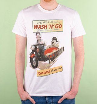 Men's Wallace And Gromit Wash N Go White T-Shirt