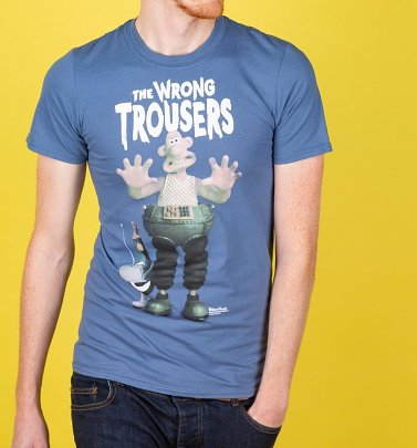 Men's Wallace and Gromit The Wrong Trousers Indigo Blue T-Shirt