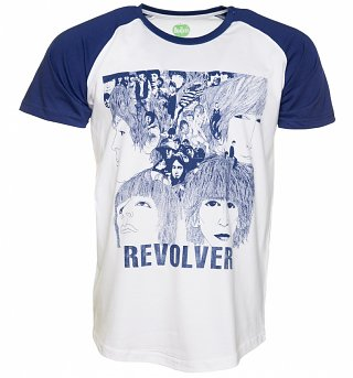 Men's White And Blue Beatles Revolver Baseball T-Shirt