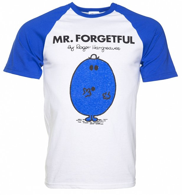 Men's White And Blue Mr Forgetful Mr Men Baseball T-Shirt