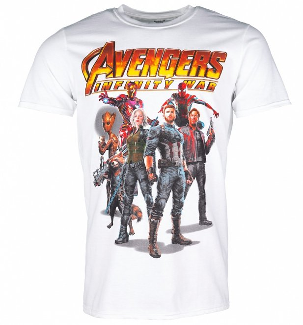 Men's White Avengers Infinity War Group T-Shirt