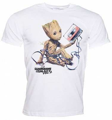 Men's White Baby Groot And Cassette Guardians Of The Galaxy T-Shirt