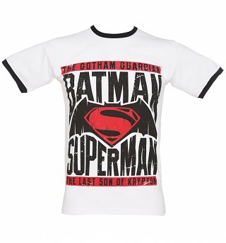Men's White Batman V Superman Ringer T-Shirt