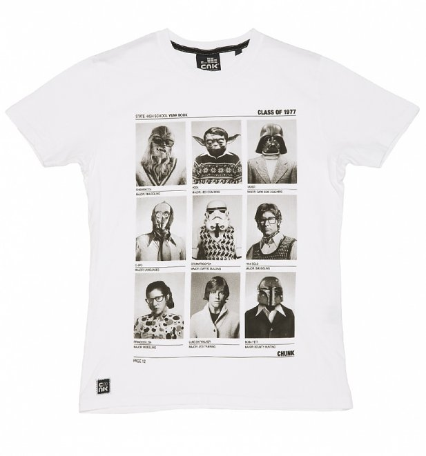 Men's White Class Of 77 Star Wars T-Shirt from Chunk