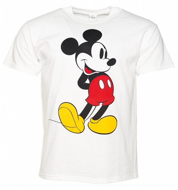 Men's White Classic Mickey Mouse Disney T-Shirt
