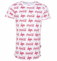 Men's White Coca-Cola Repeat Logo T-Shirt from Hype