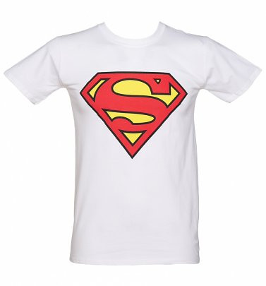 Men's White DC Comics Superman Logo T-Shirt