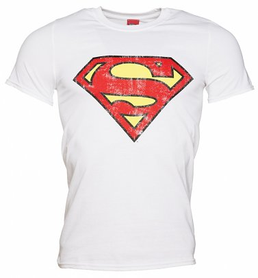 Men's White Distressed Superman Logo T-Shirt