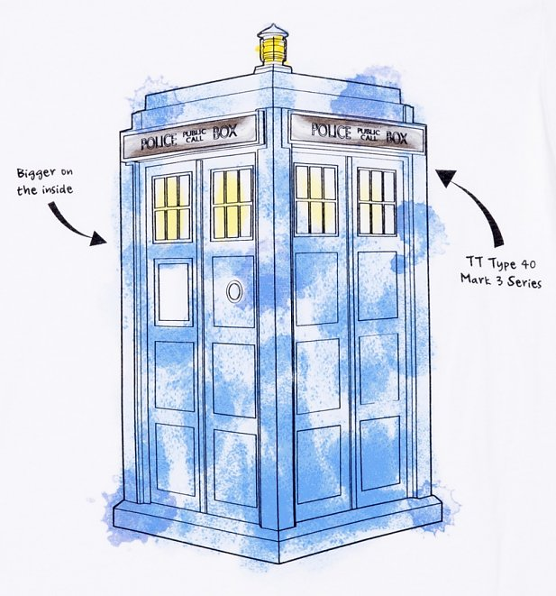 Men's White Doctor Who TARDIS Watercolour T-Shirt