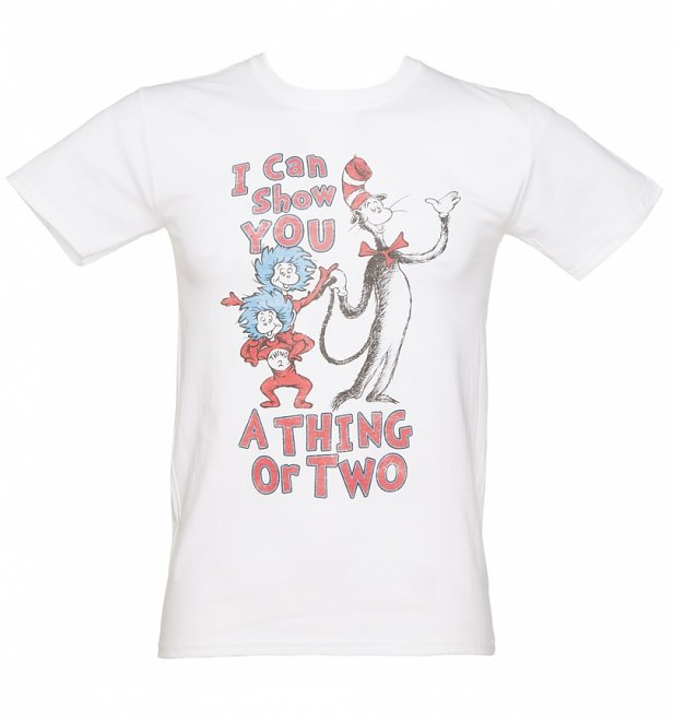 Men's White Dr Seuss Thing Or Two T-Shirt