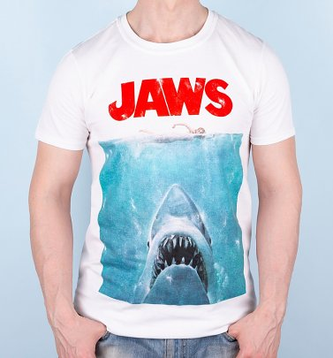 Men's White Jaws Movie Poster T-Shirt