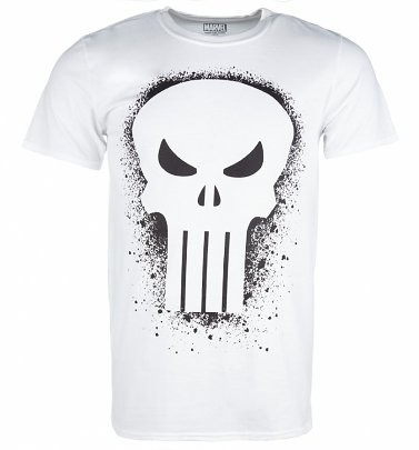 Men's White Marvel Punisher Skull Graffiti T-Shirt