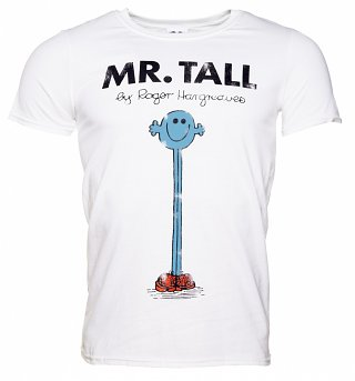 Men's White Mr Tall Mr Men T-Shirt