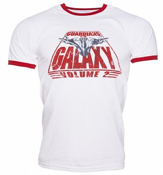 Men's White Retro Guardians of The Galaxy Volume 2 Logo Ringer T-Shirt