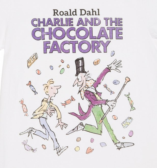 Men's White Roald Dahl Charlie and the Chocolate Factory T-Shirt