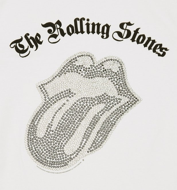 Men's White Rolling Stones Black and Silver Diamante Tongue T-Shirt from Amplified