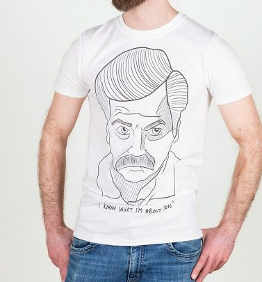 Men's White Ron Swanson Illustration T-Shirt