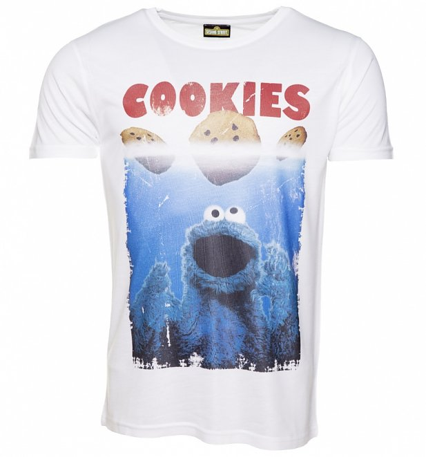 Men's White Sesame Street Cookie Monster Movie Parody Cookies T-Shirt