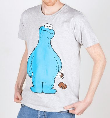 Men's White Sesame Street Cookie Thief Cookie Monster T-Shirt With Back Print