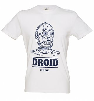 Mens White Star Wars C 3PO Droid T Shirt from Chunk