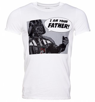 Men's White Star Wars I Am Your Father Darth Vader T-Shirt