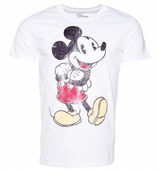 Men's White Distressed Vintage Mickey Mouse Disney T-Shirt