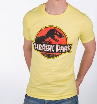 Men's Yellow Jurassic Park Logo T-Shirt