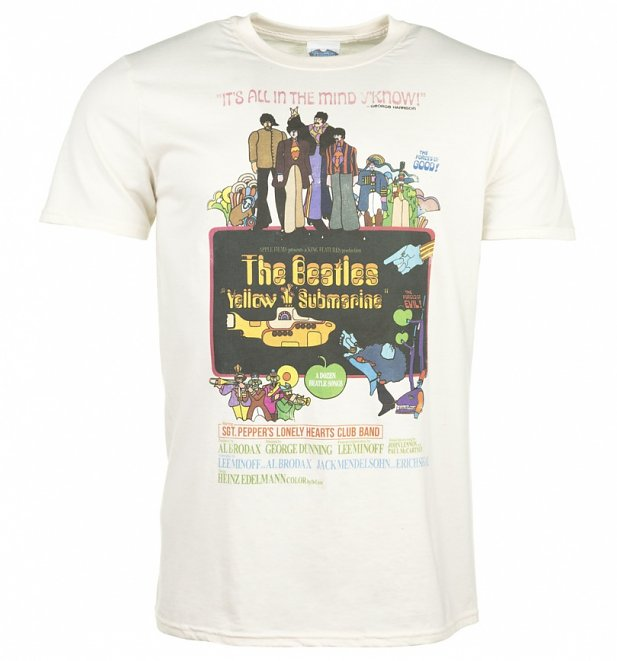 Men's Yellow Submarine Movie Poster Ecru T-Shirt